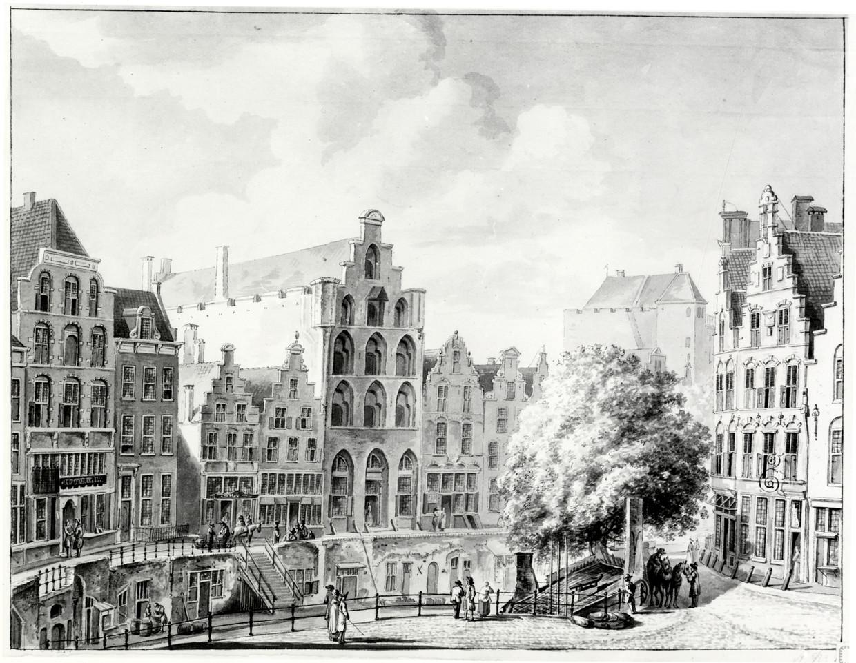 Gezicht op de Oudegracht in 1774.