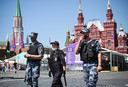 In Moskou houdt de politie de situatie op het Rode Plein scherp in de gaten.
