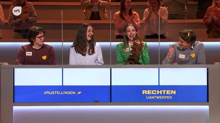 De winnaars van 'De Campus Cup' 2021: rechten UAntwerpen. Beeld VRT