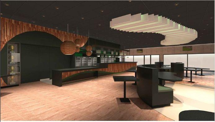 Een toekomstbeeld van de cafetaria Sportcafé: de opening is voorzien voor midden september.
