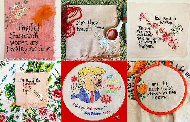 Diana Weymar begon met Trumps uitspraken te borduren op stoffen met een geschiedenis, een bezigheid die is uitgegroeid tot het Tiny Pricks Project, waaraan ook anderen meewerkten. De verzameling telde na drie jaar al meer dan 3.600 exemplaren. Beeld Diana Weymar, @sbovee