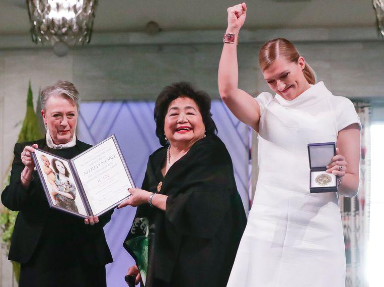 Berit Reiss-Andersen van het Nobelcomité, Hiroshima-overlever Setsuko Thurlow en ICAN-boegbeeld Beatrice Fihn Beeld EPA