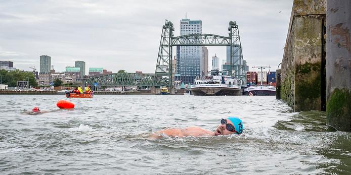 Elfde editie Rotterdam Swim in 2018, een rondje van 3 kilometer zwemmen om het Noordereiland in Rotterdam.