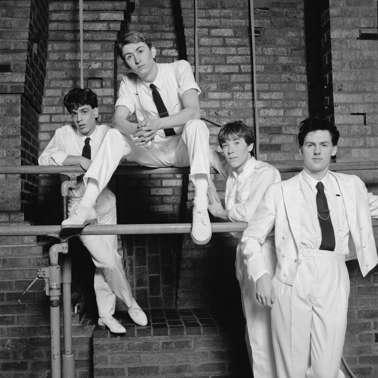 Talk Talk als synthipop-bandje in 1982 met (van links naar rechts) Simon Brenner (keyboard), Mark Hollis (zang), Lee Harris (drums) en bassist Paul Webb. Beeld Getty Images