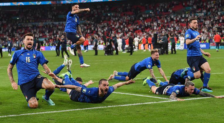 Italië viert feest: het land wint het EK 2021. Beeld Pool via REUTERS