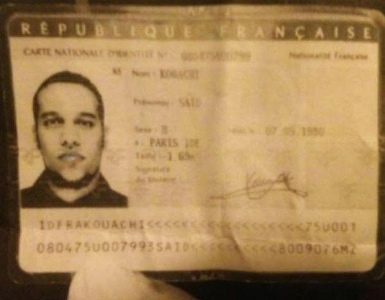 De identiteitskaart van Said Kouachi, een van de broers die verdacht wordt van de aanslag op het redactiekantoor van Charlie Hebdo. Beeld .