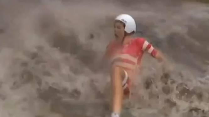 Extreme regenval bij tijdrit, veel renners onderuit