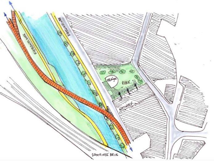 Figuur 1: Voorstel mogelijke nieuwe fietsersbrug Dender van over.morgen en Buurt Houtkaai.