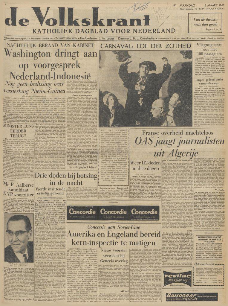 De Volkskrant van 5 maart 1962 Beeld de Volkskrant