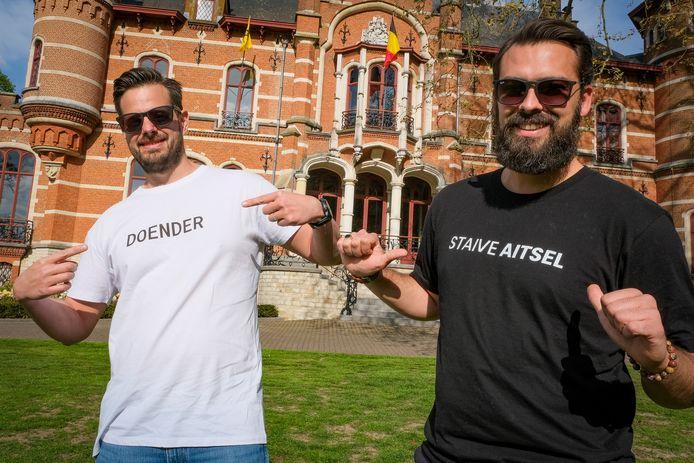 Loïc Fiermans en Olaf Galekop hebben hun webshop met kledij en accessoires met Hoeilaartse opschriften net online gezet.