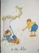 Illustratie voor bij het bruiloftsfeest van Bas en Miranda.