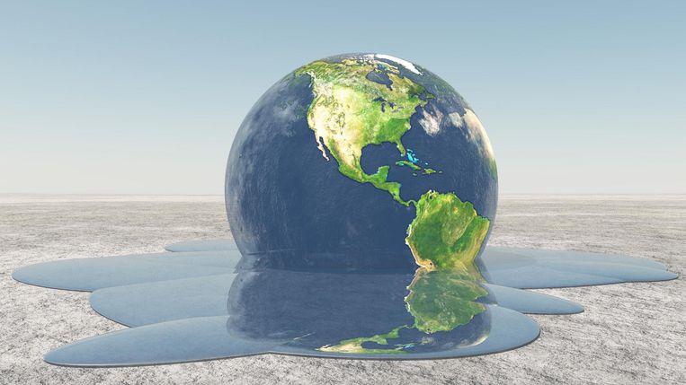 Beeld van een smeltende aarde.  De vier jongste jaren waren de warmste ooit op aarde zeggen wetenschappers van de Amerikaanse onderzoeksgroep Berkeley Earth.  Beeld thinkstock