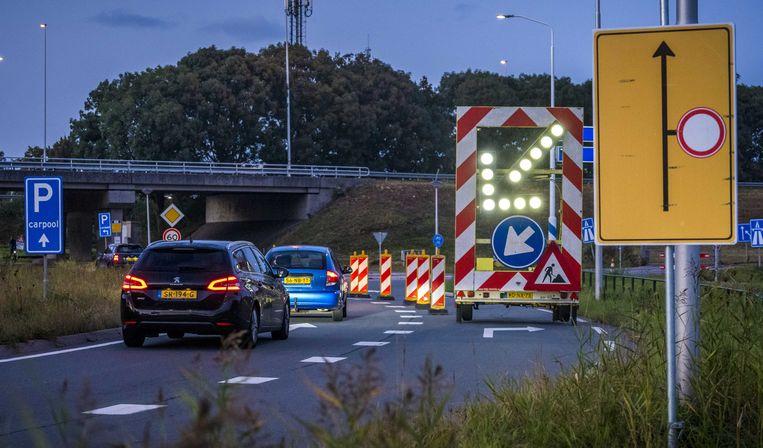 De wegafsluiting bij Nieuwerbrug. Beeld ANP