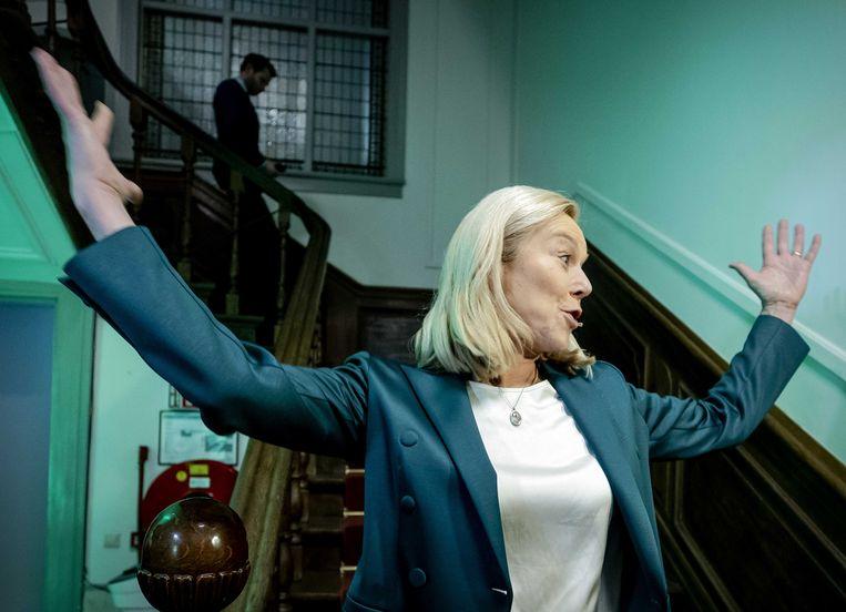 D66-lijsttrekker Sigrid Kaag reageert in het verenigingshuis van het Landelijk Bureau op de uitslagen voor de Tweede Kamerverkiezingen.  Beeld ANP