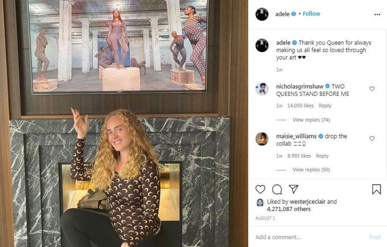 Adele op Instagram, 1 augustus 2020. Beeld k2 Adele Instagram