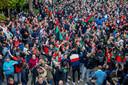 NEC-fans verzamelden zich direct na de wedstrijd massaal bij het stadion voor de huldiging.