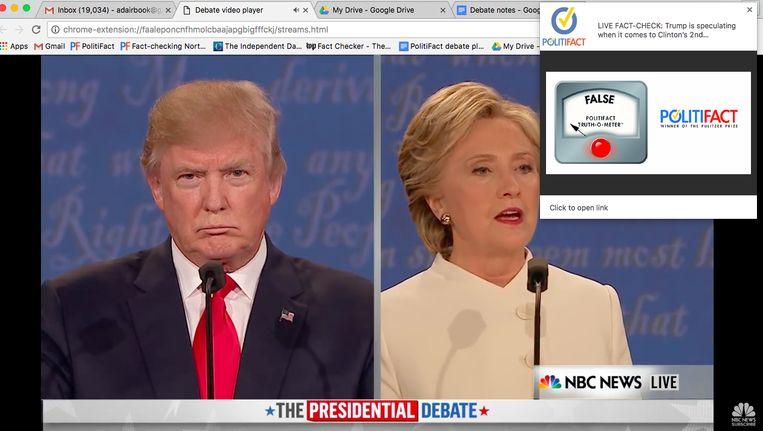 Deze screenshot toont hoe de Amerikaanse factchecker Politifact tijdens debatten meteen feiten checkt. Beeld RV/screenshot
