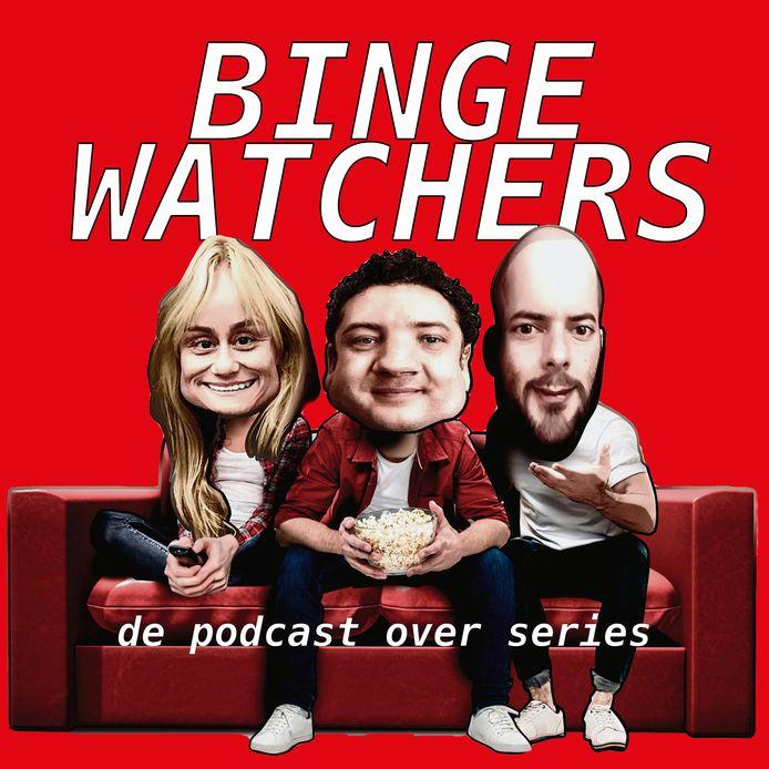 Bingewatchers Charlene Heezen, Gudo Tienhooven en Kevin Goes