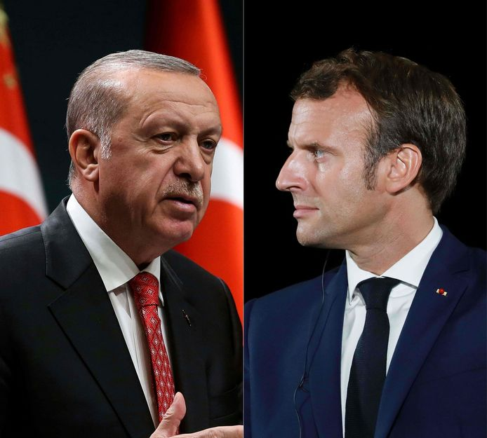 De Turkse president Erdogan (l) en zijn Franse ambtgenoot Macron.