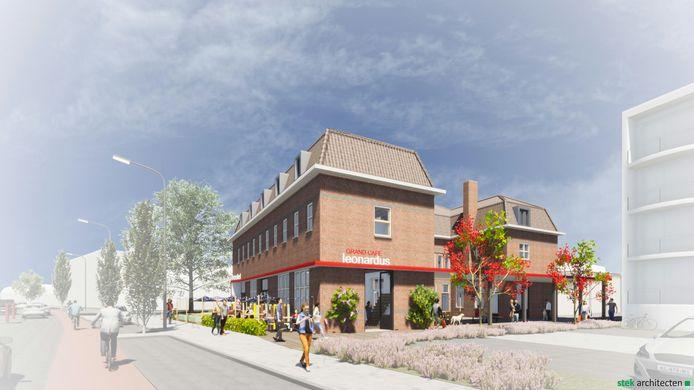 Impressie van het nieuwe hostel met grand café, daar wordt het voormalige Rode Kruis-gebouw voor opgekalefaterd.
