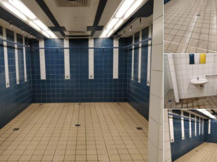 De bewuste douches van de sporthal van de Hogeschool Gent. Beeld Twitter