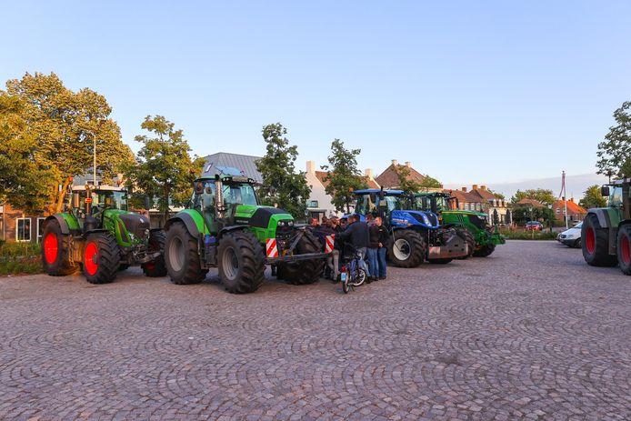 Boeren in protest in Middelbeers.