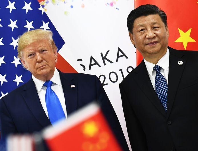 Donald Trump en Xi Jinping tijdens een ontmoeting in juni op de G20-top in Osaka.