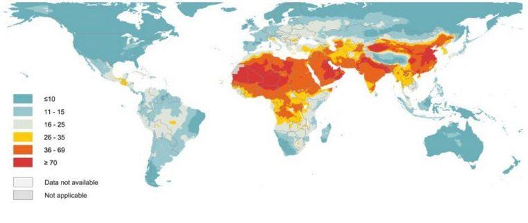 De gemeten fijnstofwaarden. De Wereld Gezondheidsorganisatie legt de maximumgrens op 10 microgram per kubieke meter. Beeld WHO