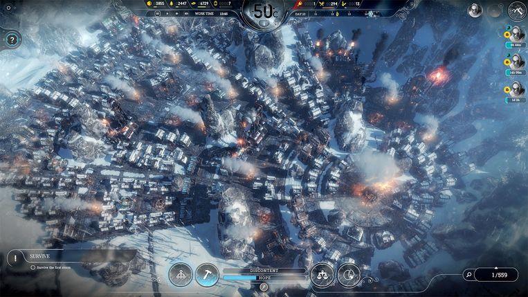 Om de laatste stad op een verwoeste aarde te leiden krijgt u in 'Frostpunk' een aantal extreme mogelijkheden aangereikt. Maar rijmen ze met uw geweten? Beeld 11 Bit Studios