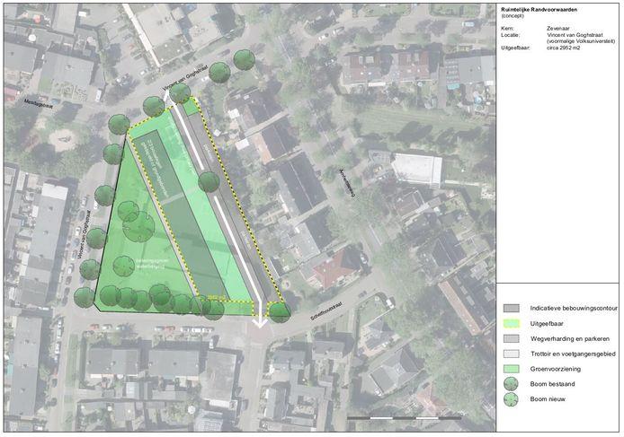 Schets van het bouwplan voor het terrein van de voormalige Volksuniversiteit aan de Vincent van Goghstraat in Zevenaar.