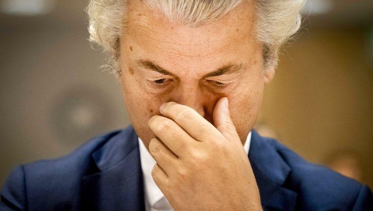 Geert Wilders, een getraind wakkerblijver, tijdens de zitting... Beeld EPA