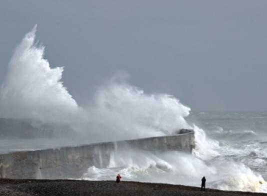 Storm aan de kust.