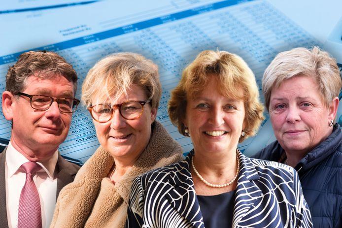 Het bestuur van BVO Rijn en Braassem, met Kees van Velzen, Yvonne Peters, Liesbeth Spies en Petra van der Wereld. Fotomontage AD/Maarten Veenendaal.