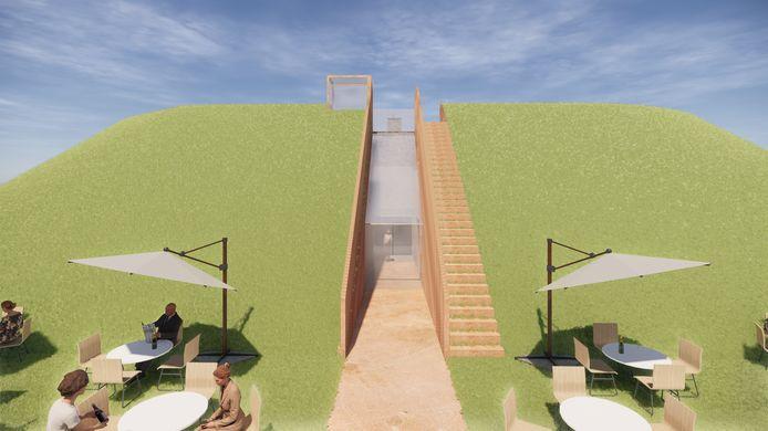 Sfeerimpressie plannen Fort Buitensluis: de nieuwe hoofdroute van het fort komt uit bij het nieuwe terras aan de achterzijde.