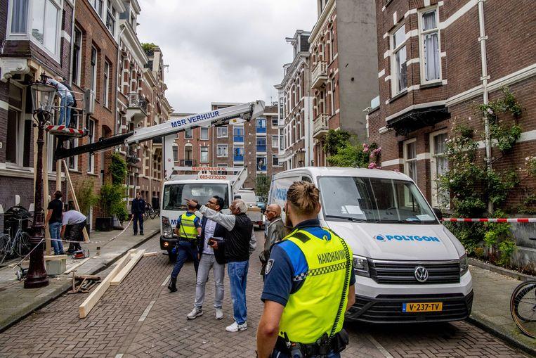 De Korte van Eeghenstraat in Amsterdam de dag na de explosie. Beeld ANP