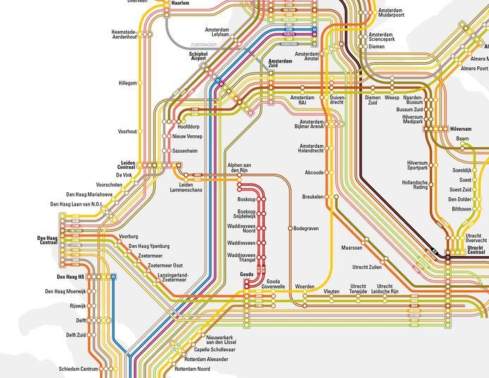 Het traject tussen Alphen en Gouda is rood gemarkeerd, naar de kleur van vervoerder R-Net.