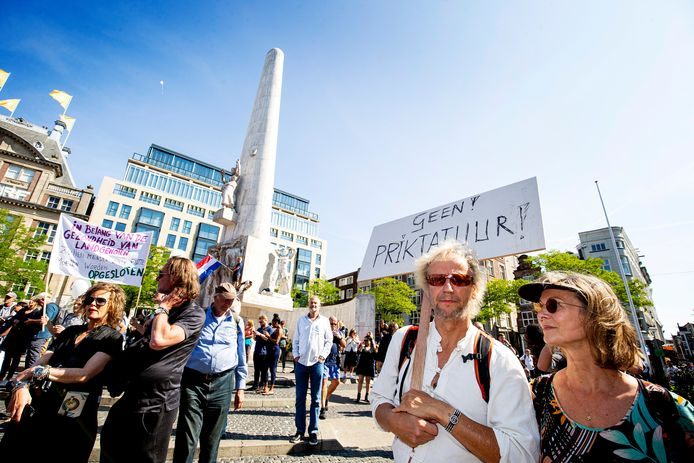 In Amsterdam werd vorige week gedemonstreerd tegen het coronabeleid.