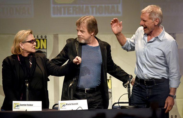 Met 'Star Wars'-collega's Mark Hamill en Harrison Ford.