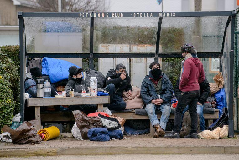 Vluchtelingen in Zeebrugge. Beeld Photo News
