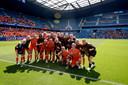 De Nederlandse Leeuwinnen voorafgaand aan de WK-wedstrijd tegen Nieuw-Zeeland.