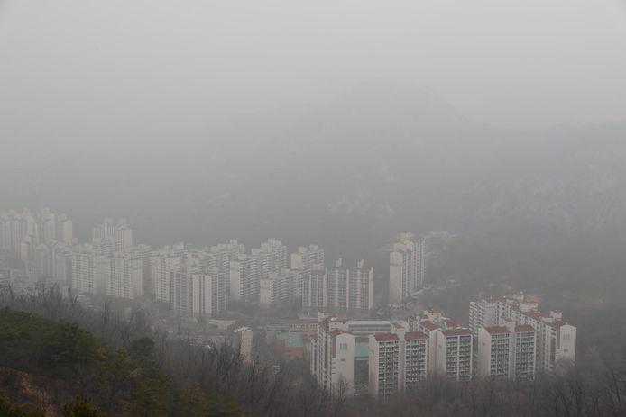 Luchtvervuiling boven Seoul in maart dit jaar.