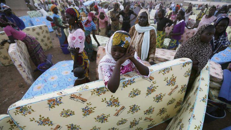 Burgers op de vlucht voor Boko Haram in het noordoosten van Nigeria.