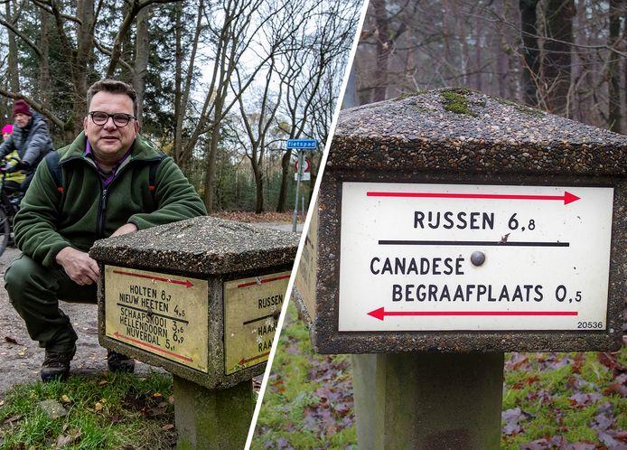 Archieffoto's. Links boswachter Kees Jan Westra bij de ANWB-paddenstoel in Haarle. Rechts de paddenstoel op de Holterberg in Holten.