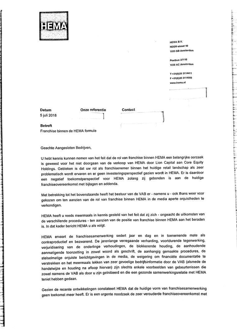 Brief Hema, pagina 1 Beeld Hema