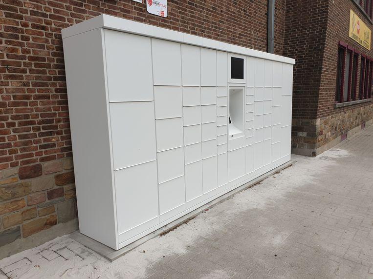 Pakjesautomaat aan administratief centrum van Geetbets.