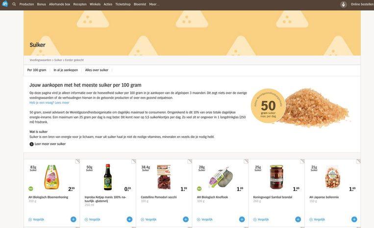 De suikerpagina van het nieuwe Voedingswaarde Dashboard van Albert Heijn Beeld Albert Heijn