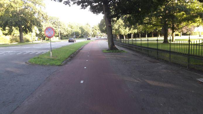 De Amsterdamsestraatweg met rechts het paleishek.