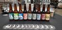 De bieren van de Scheldebrouwerij op een rijtje.