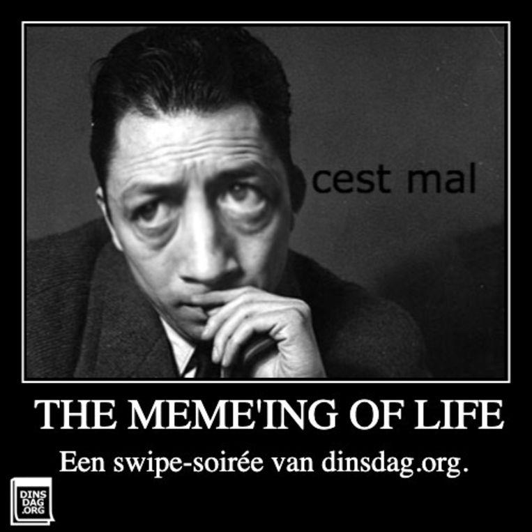 Beeld van Albert Camus bij de online voorstelling The Memeing of Life door Dinsdag.org. Beeld Dinsdag.org