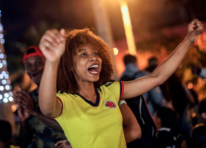 Feest in de hoofdstad Medellin nadat Colombia zich heeft gekwalificeerd voor het WK voetbal in Rusland.